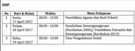 Jadwal USBN SMP Tahun 2017 sesuai POS USBN 2017