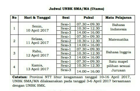 Jadwal UNBK Tingkat SMA/MA/SLTA